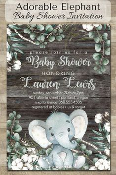 Personalized adorable baby elephant printable baby shower gender neutral invitation #ad #babyshower