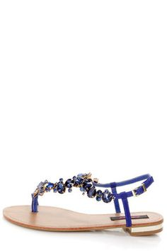 LuLu's Dollhouse Radiant Indigo Blue Rhinestone Studded Thong Sandals in Blue and Tan leather.  $34.00