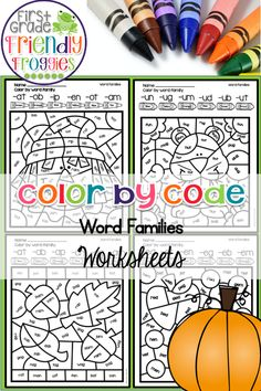 These Color by Code worksheets are perfect for reviewing word families during the fall months! Each worksheet provides a different fall them for students to read and color! This resource reviews the following word families: at, ab, ap, an, ag, am, ed, et, en, eg, eb, em, it, itb, ip, in, ig, im, id, ick, ing, ill, un, ug, um, ud, ub, ut, ot, ob, ox, og, op First Year Teachers, New Teachers, Kindergarten Lesson Plans, Preschool Kindergarten, School Lessons, Math Lessons, Fall Months, Help Teaching, Word Families