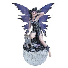 Gothic Fairy with Wolf Crystal Ball Fairy Statues, Fairy Figurines, Dallas Cowboys Logo, Elves And Fairies, Gothic Fairy, Sprites, Fairy Art, Wishful Thinking, Pixies