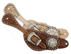 Ladies Tooled Leather Western Spur Straps Sparkling Bling