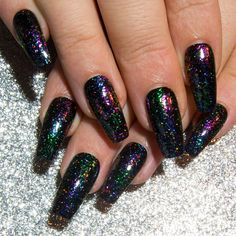 Long Coffin Nails  Galaxy False Nails  Multichrome Press On