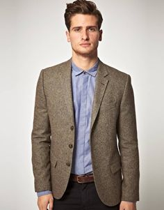 Bar III Carnaby Collection Slim-Fit Brown Tweed Herringbone Jacket ...
