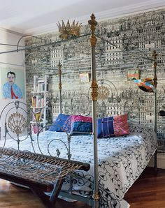 A gypsy chic family in Paris, Tangier, Brooklyn. Photographed in Vogue. Alhambra Four Poster Bed by Seventh Heaven.