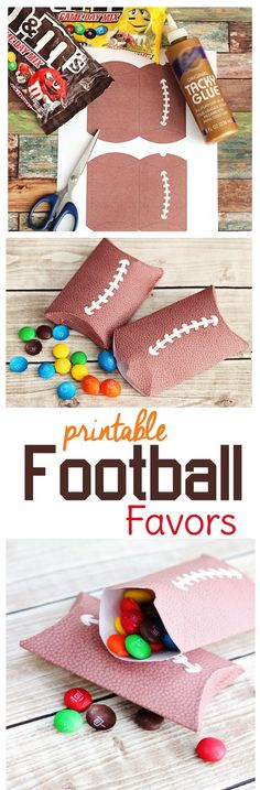 Game day coming up?Need football party food and decorations? Try these free printable pillow boxes with a pigskin texture. They make great little football treat bags for your party guests or serve as a way to divide out portions