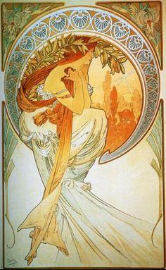 La Poesie (1898) De la serie Las Artes Alfons Maria Mucha (Chequia/Francia, 1860-1939) Art Nouveau