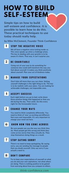 Overcome Low Self Esteem. 10 ideas you can try straight away. How to build self-esteem quickly. Use these ideas today. Click infographic for more tips and techniques for building self-esteem and confidence. Building Self Confidence, Self Confidence Tips, Building Self Esteem, How To Build Confidence, Confidence Coaching, Self Esteem Quotes, Low Self Esteem, Self Respect Quotes, Positive Self Esteem
