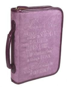 Black canvas Bible cover with screen-printed front featuringThe Serenity Prayer on clouds and praying woman design. Includes convenient spine handle, interior pen loop and ribbon bookmark. Fits Bible x Soft Purple, Purple Suede, Bible Covers, Serenity Prayer, Ribbon Bookmarks, Black Canvas, Prayers, Bible Book, Leather