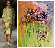 Splash Connect: Prada Spring 2016 Ready-to-wear - Palette Splash - Lime Green / Gold / Pink / Lilac / Black / Silver Prada Spring, Spring 2016, Green And Gold, Beadwork, Black Silver, Lilac, Connect, Ready To Wear, Runway