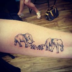 Image result for Family of elephants tattoo