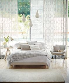 Create a tranquil bedroom with Harlequins Momentum Sheers & Structures voiles Decor, Furniture, Interior, Home, Home Bedroom, Bedroom Inspirations, Home Deco, Bedroom Decor, Interior Design