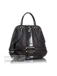 $1485.00 Alexander McQueen Black Patent Leather Trim Large Novak