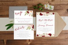 DIY Printable Burgundy, Blush and Cream Watercolour Floral Wedding Invitation Main Invitation   Details   RSVP   Woodland Theme