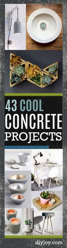 43 DIY concrete crafts and DIY Projects -Cheap and creative projects and tutorials for countertops and ideas for floors, patio and porch decor, tables, planters, vases, frames, jewelry holder, home decor and DIY gifts.  http://diyjoy.com/diy-concrete-crafts-projects-