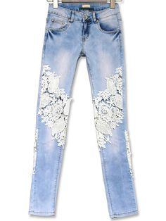 pantalon en denim avec dentelle -bleu  29.69