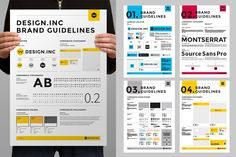 Brand Manual Poster Graphic Templates by egotype from Envato Elements Stationery Design, Brochure Design, Stationery Templates, Brand Guidelines Design, Conference Branding, Brand Manual, Brand Book, Brand Style Guide, Print Templates