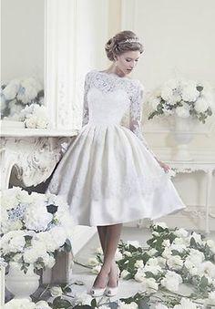 Lace Long sleeves Knee length Bridal Short Wedding dress Keyhole Back custom