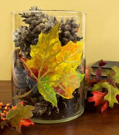 Update an old vase with a beautiful painted leaf - perfect for a fall tablescape! @DecoArt Inc. Inc. Inc. Inc.