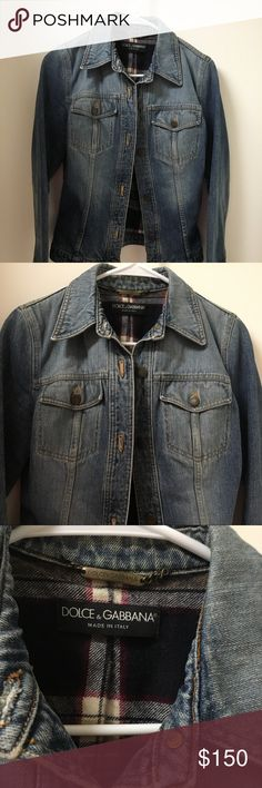 Dolce & Gabbana jean jacket Fabulous Dolce & Gabbana jean jacket. This jean jacket is in excellent condition only worn once. It is a size 42 which is a extra small or small.  The measurements are 16 inches in the bust, 15 inches in the waist, and the length is 22 1/2 inches. No trades. I am willing to accept reasonable offers. Dolce & Gabbana Jackets & Coats Jean Jackets