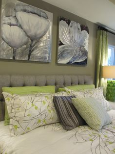 Gray and Green Bedroom. i like the color scheme | For the Home ...
