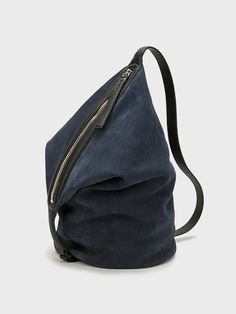 KARA | Navy Suede Small Dry Bag, navy suede with black pebble leather