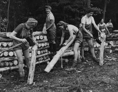 LUMBERJILLS [really!] At first, the Women's Timber Corps (WTC) was separated from the Women's Land Army  in 1942. Billeted at farms or sometimes living in forest huts, they worked in all weathers, from snow to sunshine. They underwent training in everything from felling, snedding (stripping side shoots from felled branches), loading, working with the horses, driving tractors and also how to operate sawmills.  MANY great photos at the link!