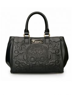 """""""Sugar Skull Embossed"""" Fashion Tote Bag by Loungefly (Black)"""