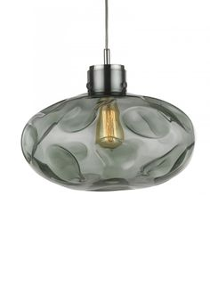 Leoni Pendant Opal Jade   Large glass pendant ceiling light formed organically using hot flames to distort and deform the oval. When lit, beautiful distorted patterns are thrown onto surrounding walls and ceilings. This ceiling light is available in Metal Lustre, Opal Jade, Smoke & Amber finishes.
