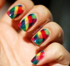 Freehand fishtails nails - with sheer rainbow colors