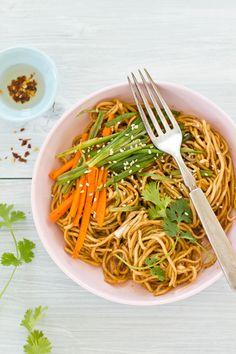 Sesame Egg Noodles with Stir Fried Vegetables