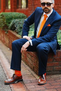 Blue Reiss suit and orange tie - over 40 menswear