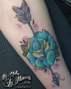 Arrow and rose tattoo by Milla Sipola @ La Muerte Ink