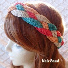 春夏色♪手編みの四つ編みヘアバンド