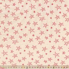 Cotton Fabric Festive Natural / Red Hand Drawn Stars