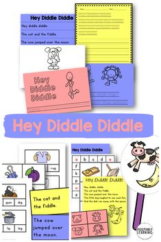 Low prep centers for early readers! Add these activities to your small reading groups AND literacy centers. Based on the favorite poem Hey Diddle Diddle. Reading Centers, Reading Groups, Literacy Centers, Early Reading, Guided Reading, Teaching Reading, Rhyming Poems, Rhyming Activities, Reading Lessons