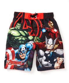 Look at this Marvel Black & Red Avengers Swim Trunks - Boys on #zulily today!