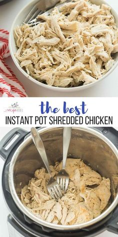 This Instant Pot Shredded Chicken is perfectly moist, perfectly seasoned, and it. - This Instant Pot Shredded Chicken is perfectly moist, perfectly seasoned, and it freezes perfectly - Shredded Chicken Pressure Cooker, Pressure Cooker Recipes, Slow Cooker, Easy Shredded Chicken, Healthy Shredded Chicken Recipes, Instapot Recipes Chicken, Recipe Chicken, Healthy Chicken Meals, Shredded Chicken Sandwiches