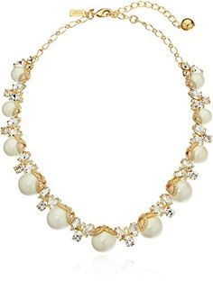 Exquiste Anthrpologie Butterfly Wings 3 Pearl Gold Trim Collar Necklace