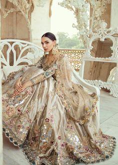 Choli: Kataan TissueLehnga: Kataan TissueDupatta: Meysuri Zari NetProduct Description :Dull gold choli embroidered with hues of lilac and blue, with fully embroidered sleeves and velvet appliquéd on… Pakistani Wedding Outfits, Indian Bridal Outfits, Indian Bridal Fashion, Pakistani Bridal Dresses, Pakistani Wedding Dresses, Nikkah Dress, Sari Dress, Pakistani Suits, Pakistani Lehenga
