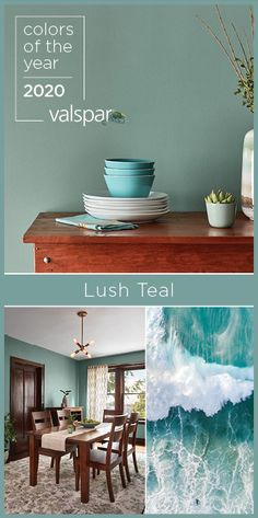soft yet vibrant this ocean inspired jewel tone offers the contrast of confidence and nostalgic comfort sue kim valspar color strategist one of # Valspar Colors, Paint Colors For Home, Lowes Paint Colors, Teal Paint Colors, Coastal Paint Colors, Coastal Color Palettes, Trending Paint Colors, Dining Room Walls, Color Of The Year