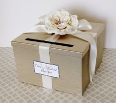 Wedding Card Box Champagne Gold Ivory Money Holder by LittleDivine, $69.00