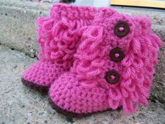 Crochet Baby Booties- Pink/ brown Baby Boots on Etsy, $20.00