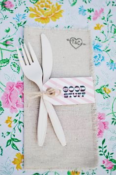 Stamp napkins with your monogram for a creative (and inexpensive!) way to personalize place settings.