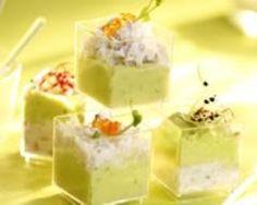 Mousse de crabe et d'avocat : http://www.cuisineaz.com/recettes/mousse-de-crabe-et-d-avocat-11056.aspx