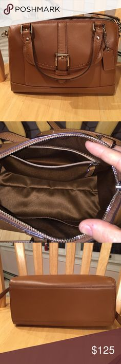 Leather Coach bag In excellent condition inside and out. With long strap can be worn as a crossbody. Long strap hangs apx 20 inches. Purchased at Coach store, 100% authentic. Price is firm. Coach Bags Mini Bags