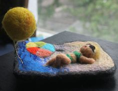 Needle felted brooch  handmade   summer time by vilnone on Etsy