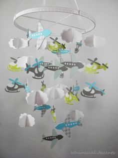 Airplane, Helicopter and Cloud Baby Paper Mobile in