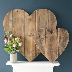 Wooden Hearts with reclaimed wood planks - would be cute as an alternate to a guest book