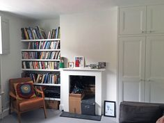 APM finished project- Lovely restored fireplace with new wardrobe and shelving either side- the space is now welcoming and practical. Meet Friends, Home Staging, Joinery, Storage Solutions, Your Space, Shelving, Restoration, Bookcase, Sweet Home