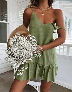 Spaghetti Strap Ruffle Dress Women Summer Dress 2019 Cotton Linen Vestidos Shift Green Dresses Off Shoulder Sexy Mini Sundress Size S Color Army Green Women's Dresses, Dresses Online, Casual Dresses, Elegant Dresses, Floral Dresses, Halter Dress Casual, Wedding Dresses, Pretty Dresses, Prom Dress